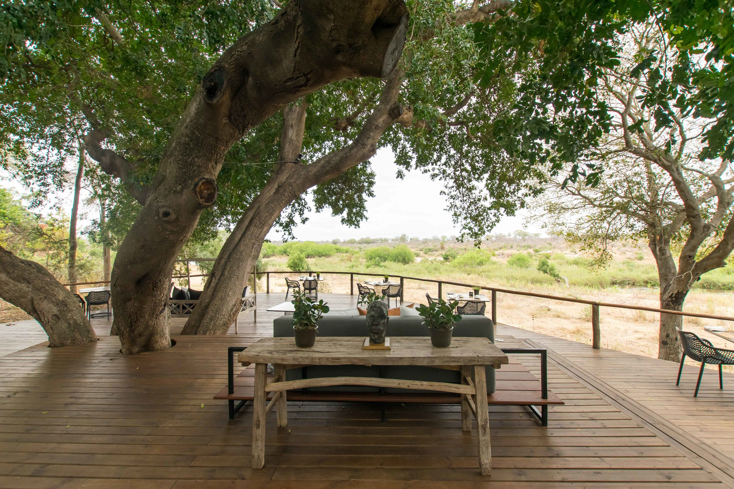 Deck in main lodge area at Lion Sands Ivory Lodge