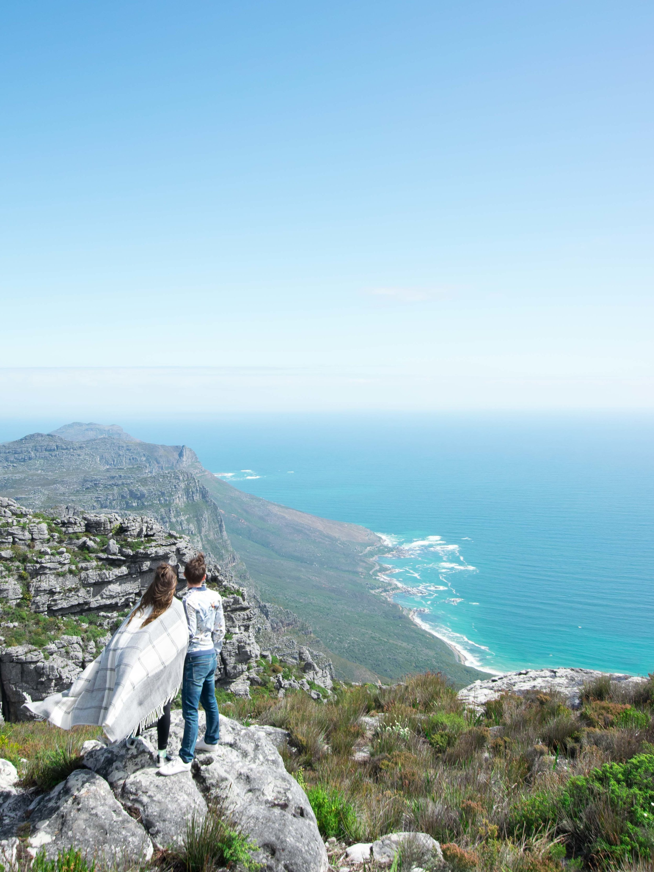 Having a romantic moment at the top of Table Mountain