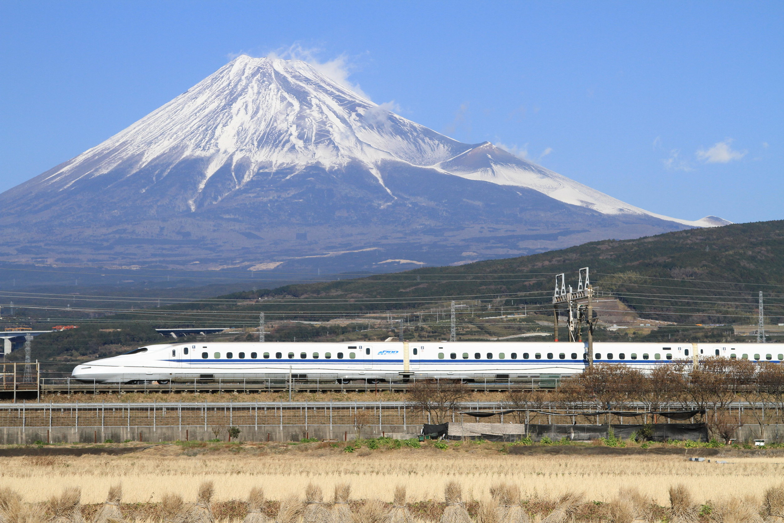Mount Fuji as seen from a Shinkansen Train