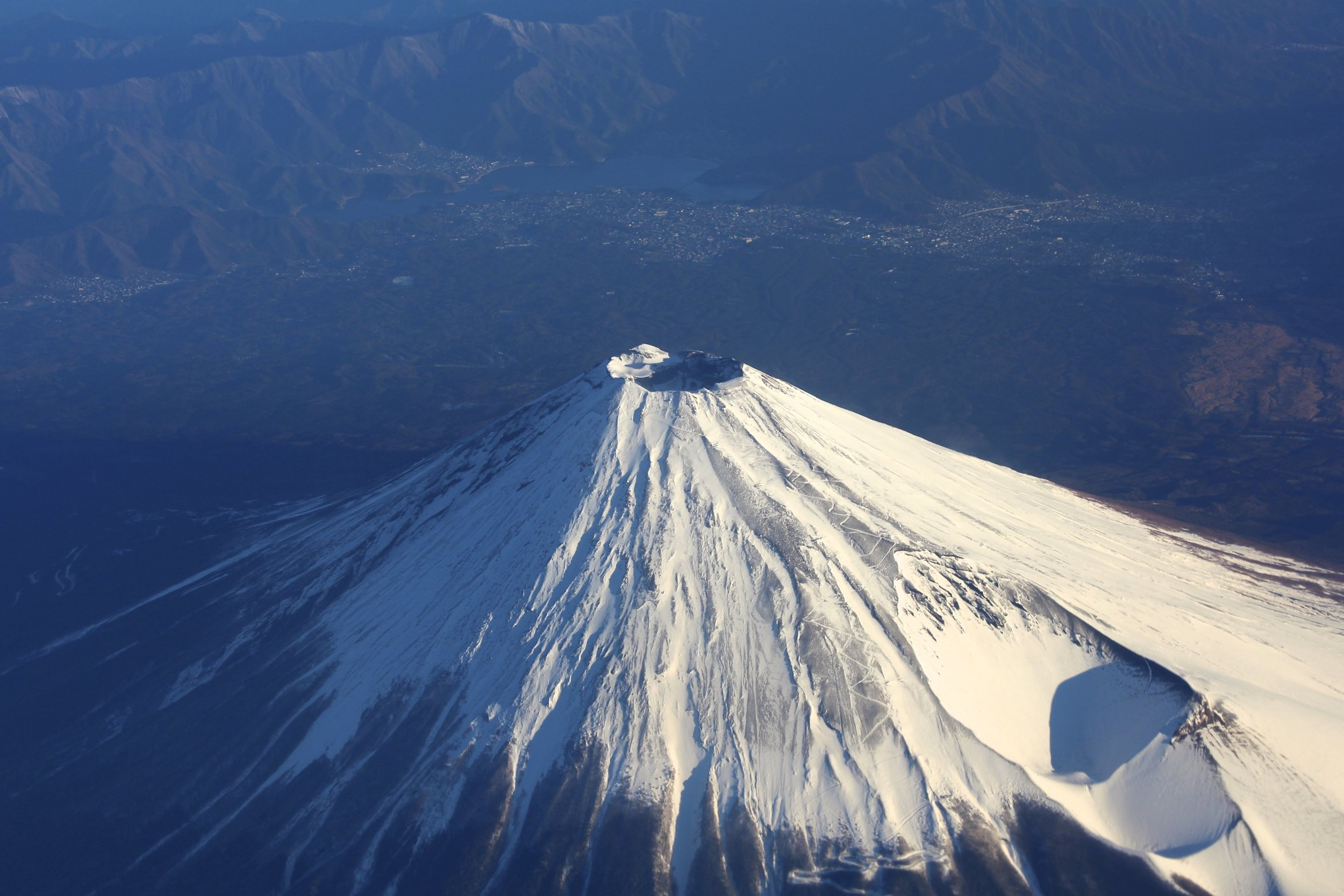 Mount Fuji as seen from airplane