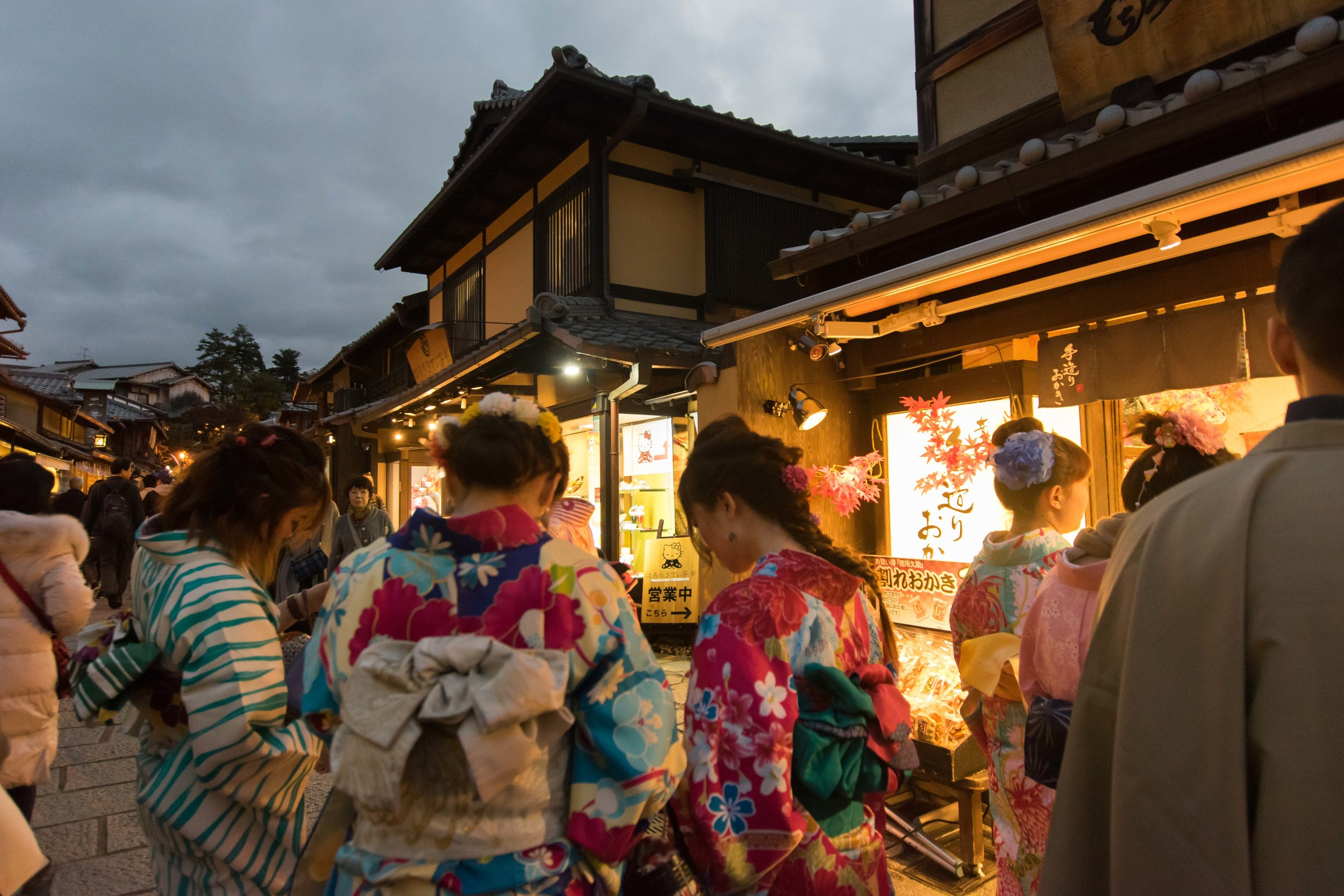 Gion as the lights come on at dusk