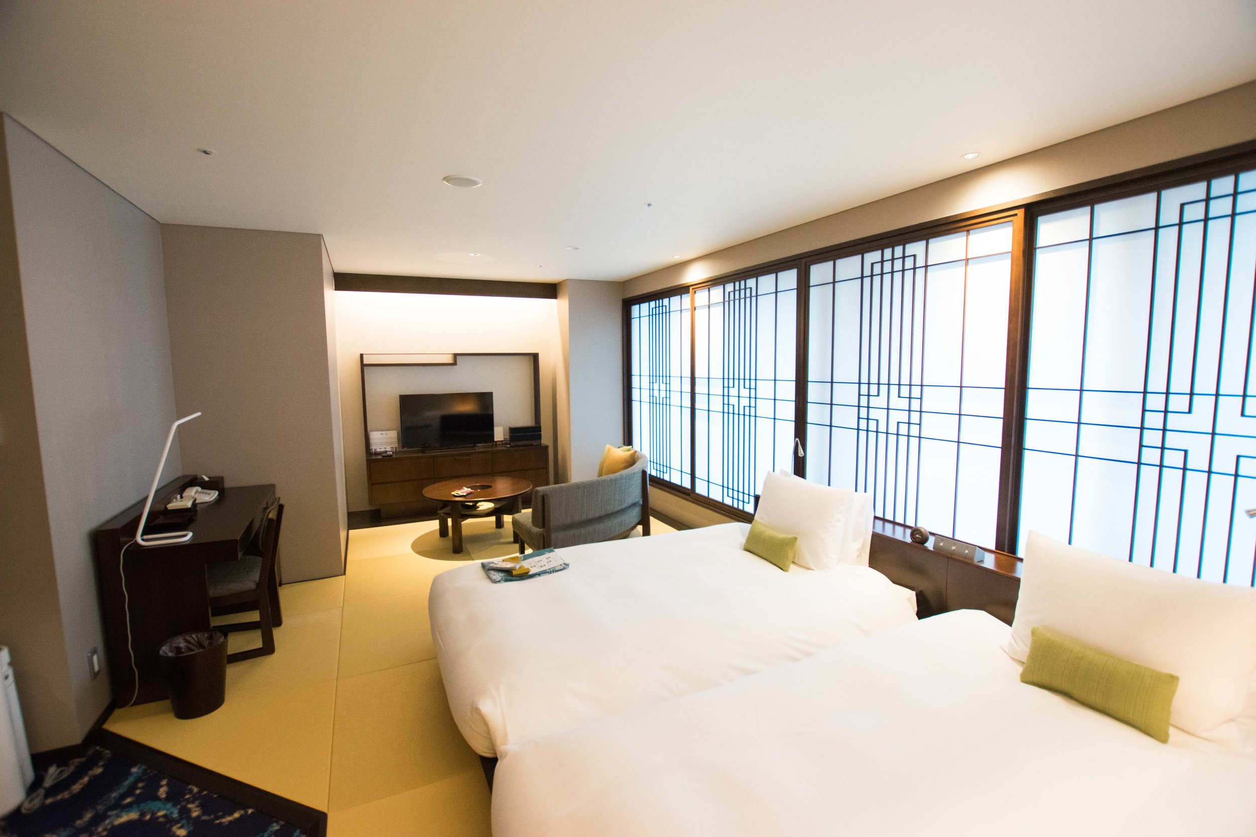 The spacious rooms at Hotel Ryumeikan in Tokyo
