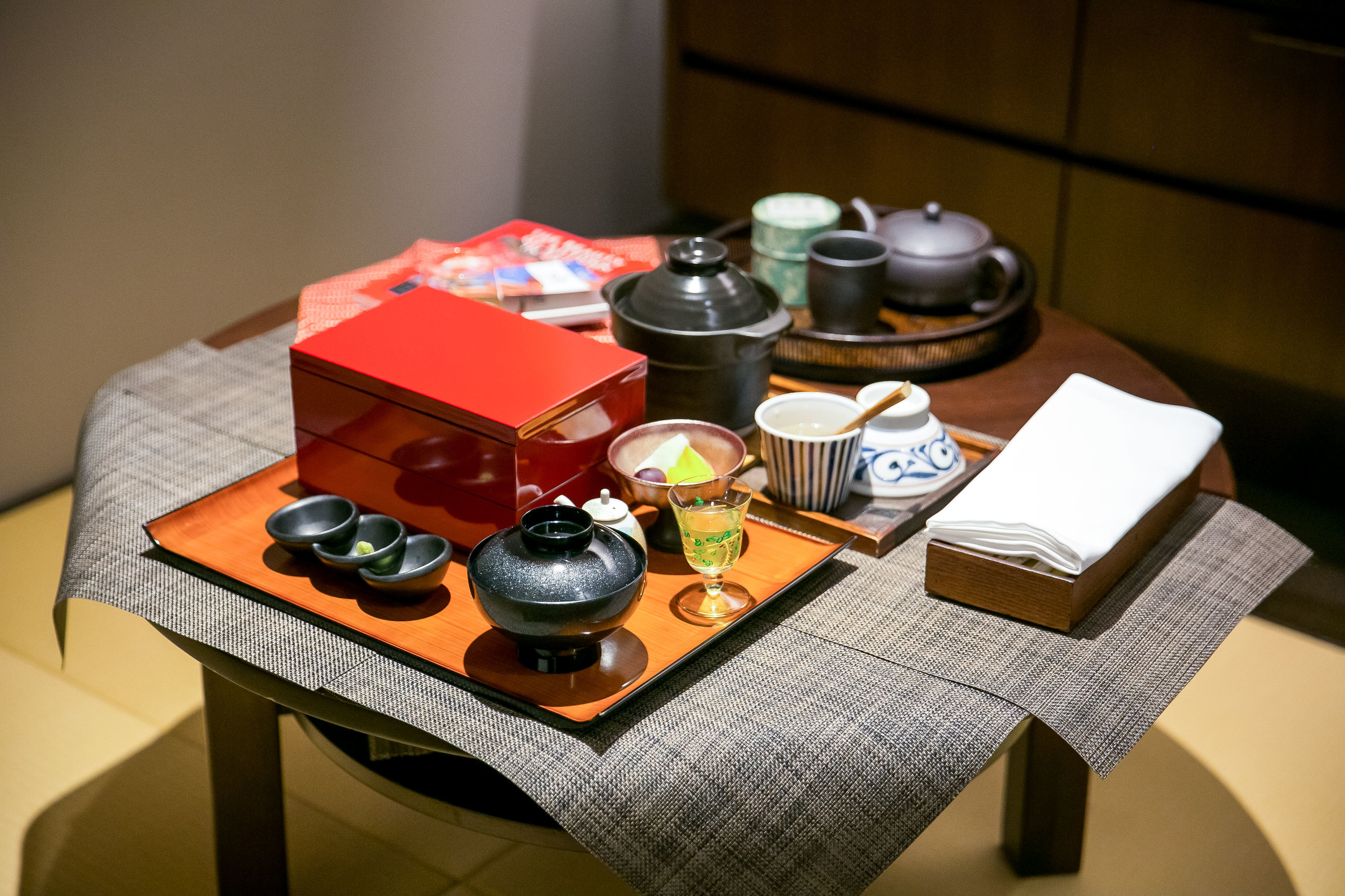 My breakfast set up at Hotel Ryumeikan in Tokyo