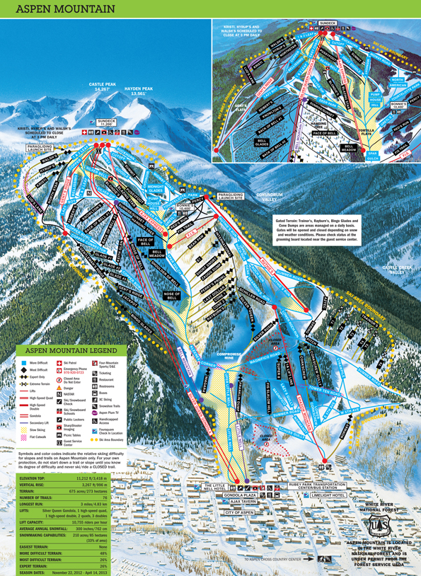 Aspen Mountain Trail Map - Click to enlarge