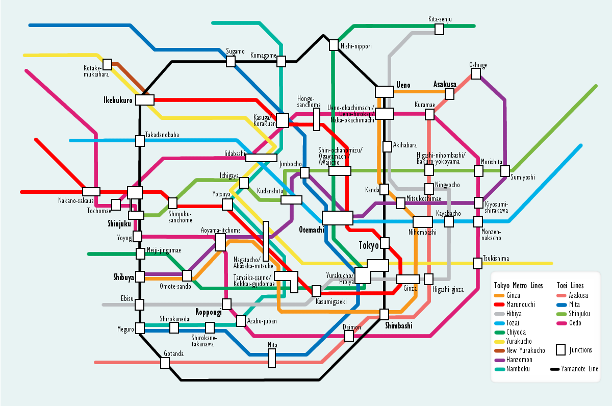 Subway map for Tokyo Japan