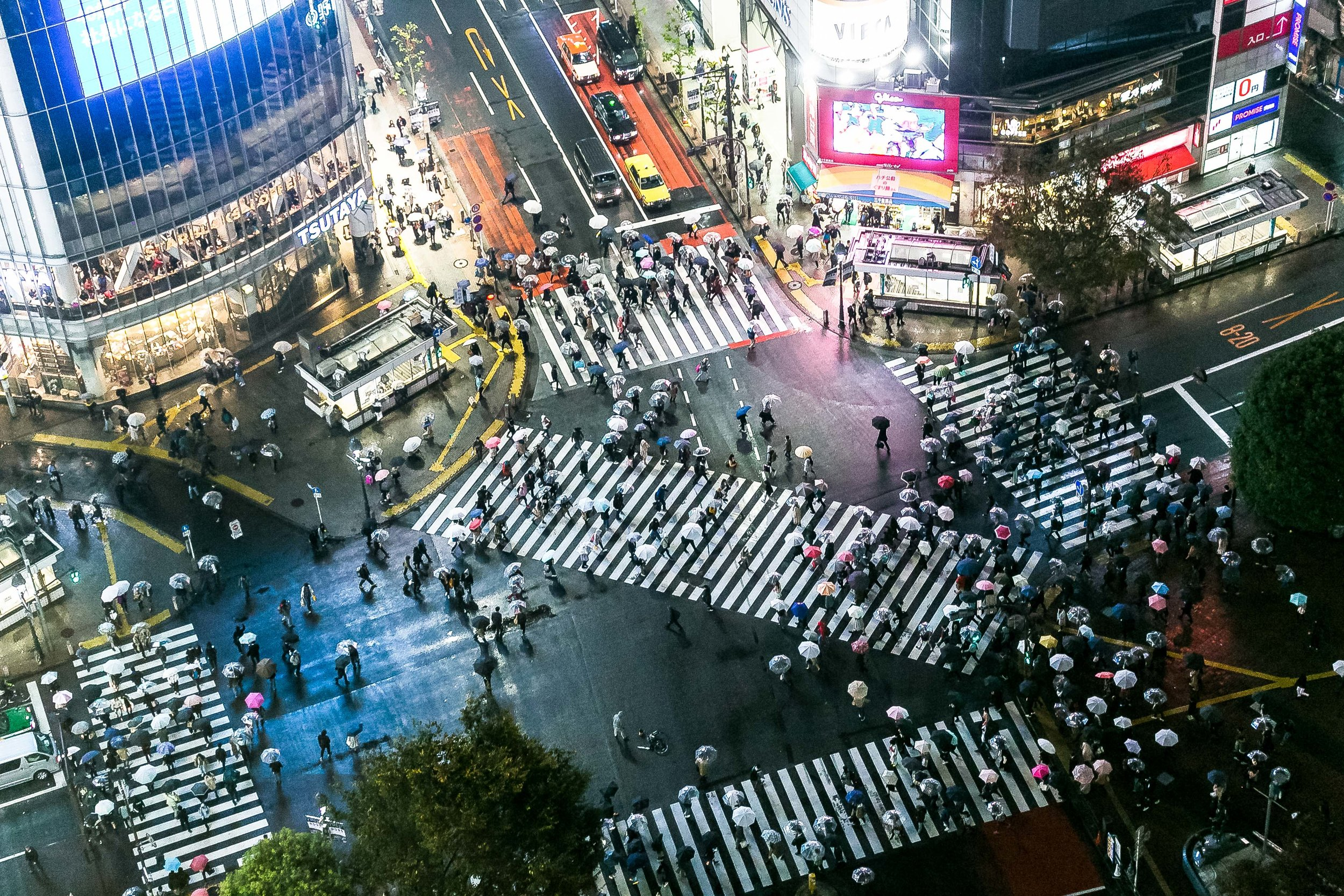 Shibuya Crossing from above  |  Tokyo, Japan