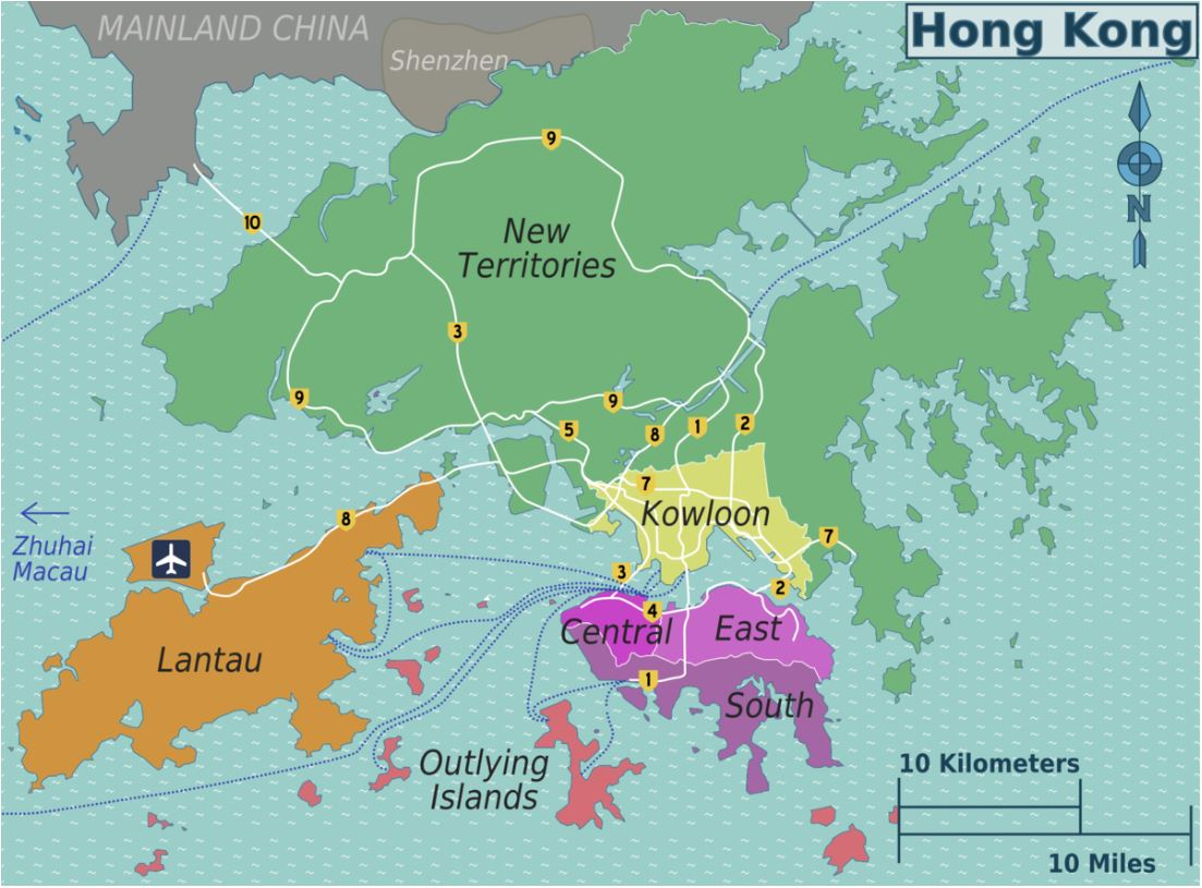 Map of different districts in Hong Kong