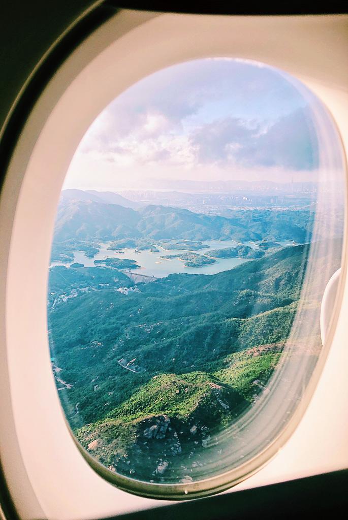 Flying into Hong Kong