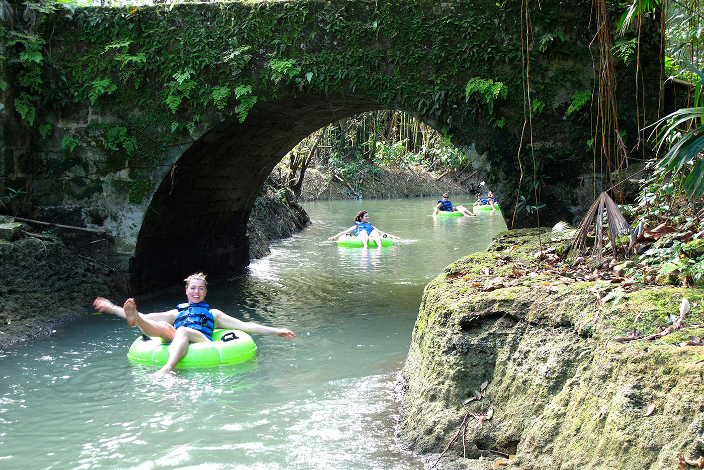 One of the best things to do in Ocho Rios is drift along the quiet white river in an inner tube