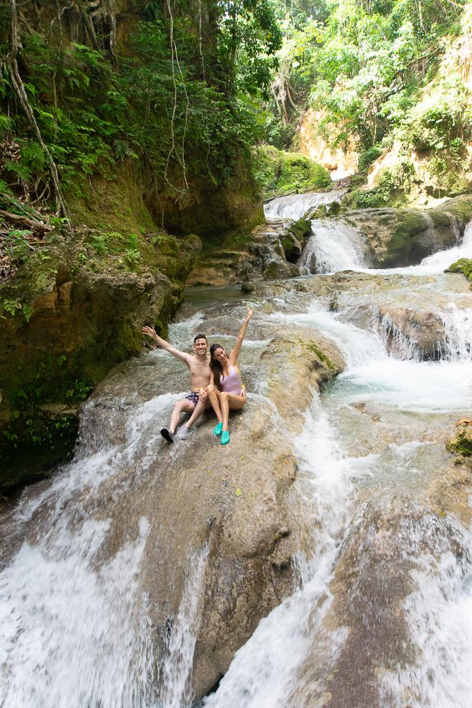Climbing waterfalls at Blue Hole