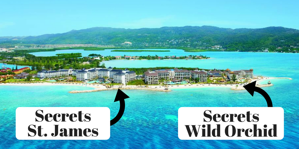 The two Secrets resorts in Montego Bay (Wild Orchid and St. James) are one huge mega resort attached to each other