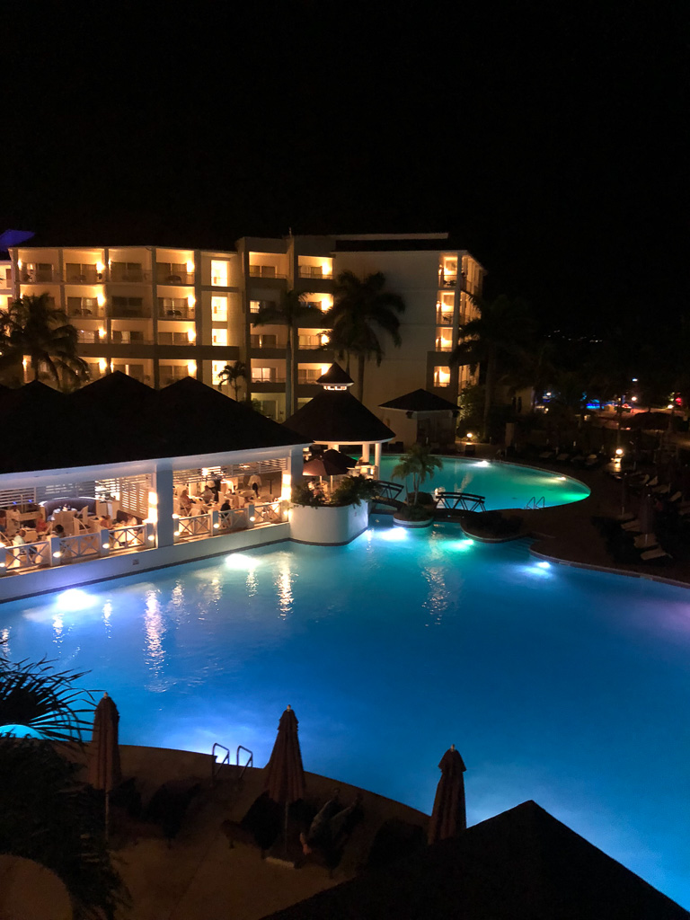 Nightime views of Secrets in Montego Bay