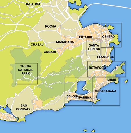 Understanding where things are in Rio is key. Above is a small map to get you acquainted.    Source