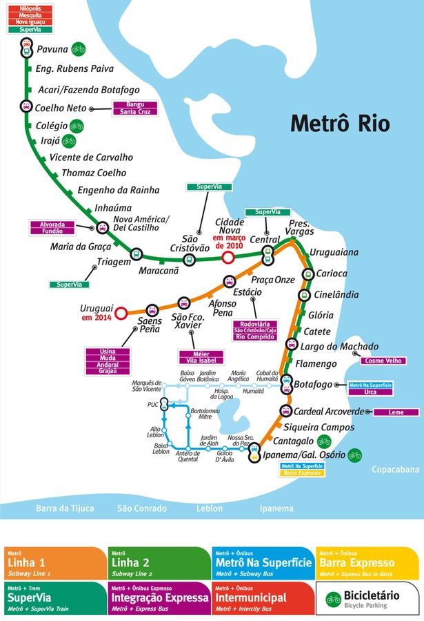 Traveling Rio via subway is a great way to get around. Here is a map of the subway and tram lines