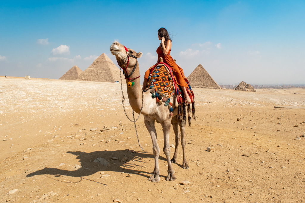 Pyramid views while on the back of a camel…. is this real life??