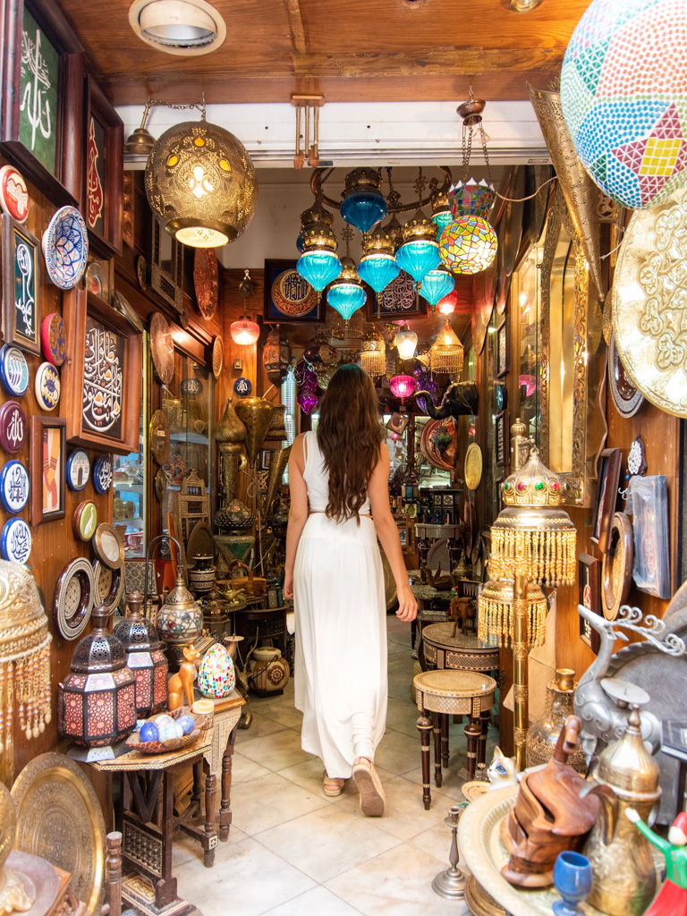 Shopping in Khan al-Khalili - one of the best places to get souvenirs in Cairo