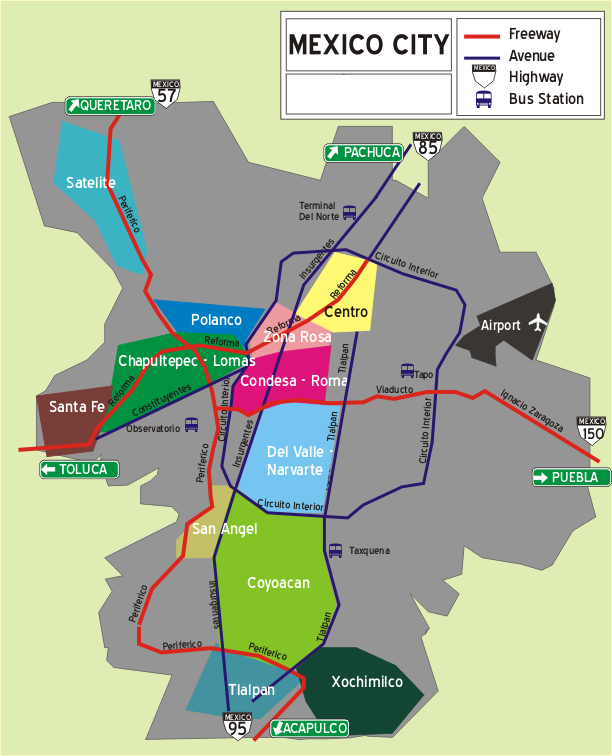 Districts inside Mexico City -   Source