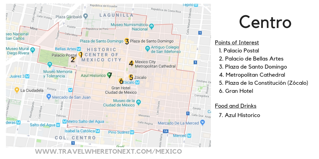 Points of Interest in Mexico City Centro District Map