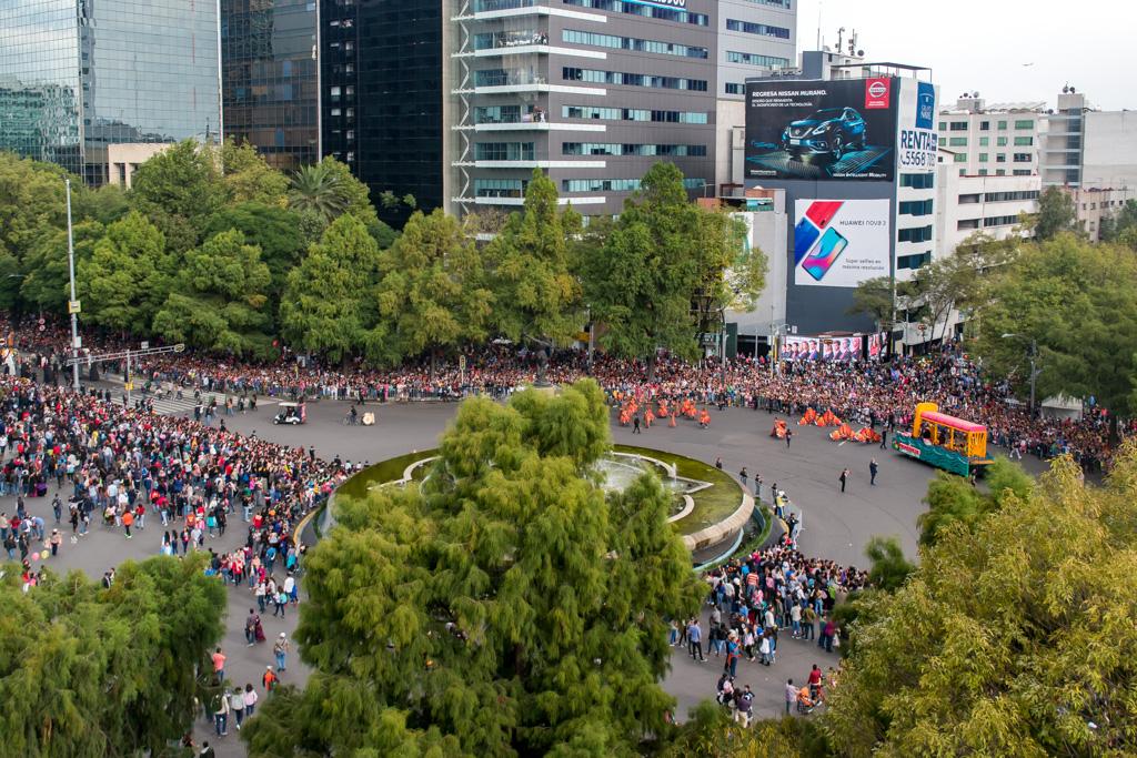 Birds eye view of the parade