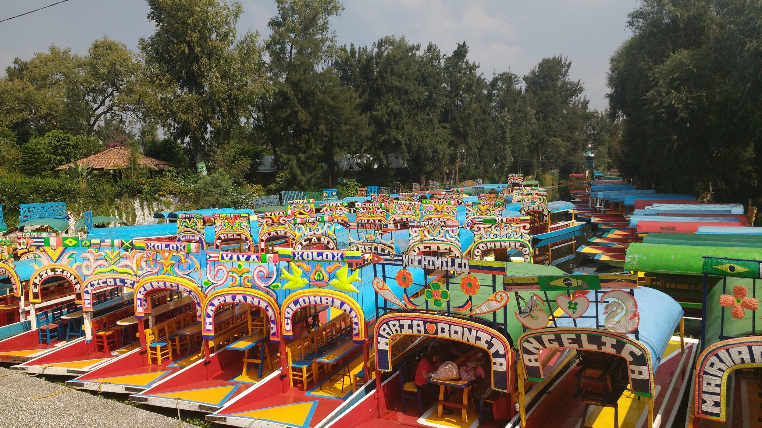 One of the best things to do in Mexico City is taking a gondola ride in the district known as Xochimilco