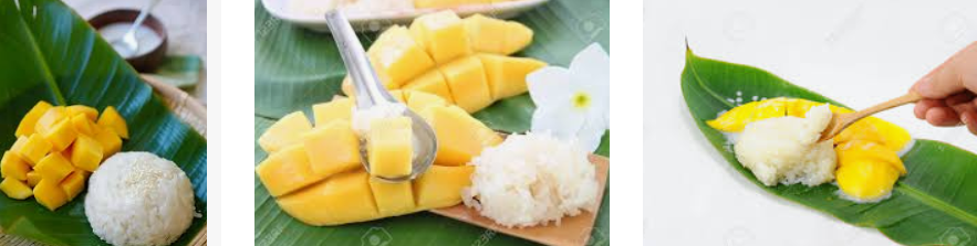 Bangkok food tour are not complete without the traditional dessert of mango and sticky rice.