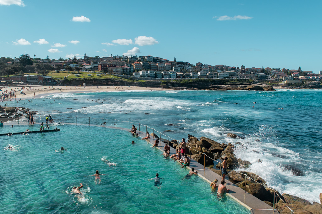 Bronte Pool in Sydney is the best and perfectly free. I suggest coming here instead of Iceberg Pool in Bondi