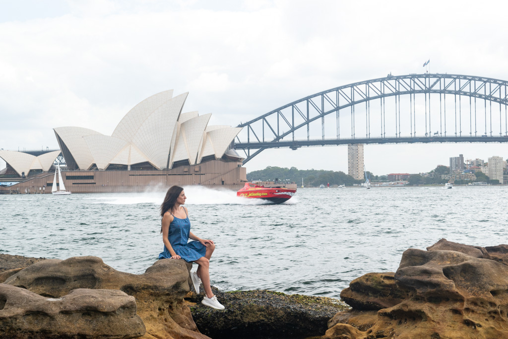 The beautiful views of Sydney from the rocks near Mrs. Macquarie's Chair.
