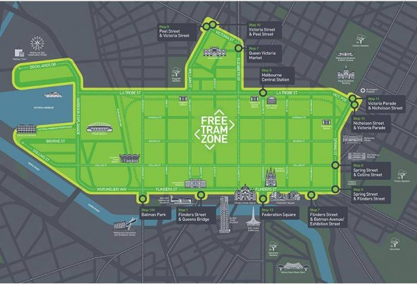 The free tram zone in Melbourne is extensive and a great asset. Click to enlarge.