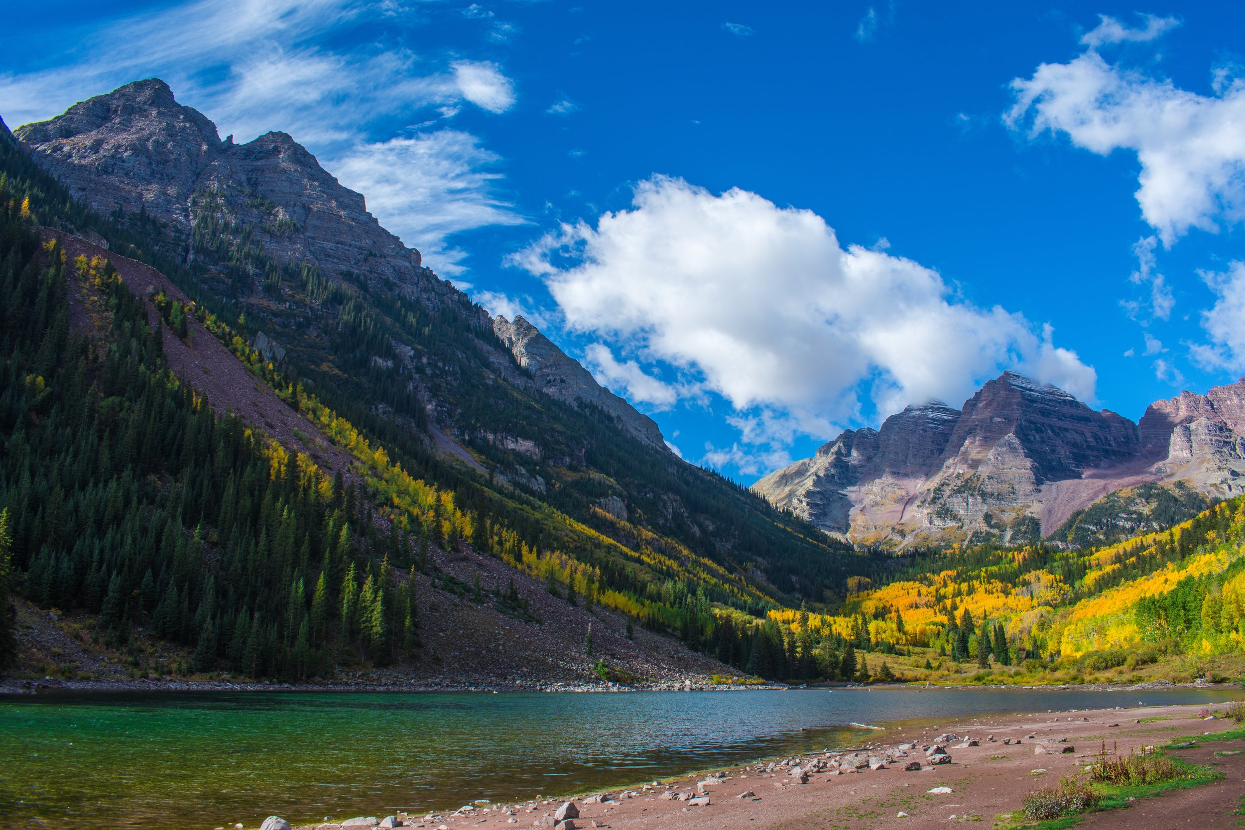 Maroon Bells, right near Aspen, is a fantastic hiking spot outside of the winter months.