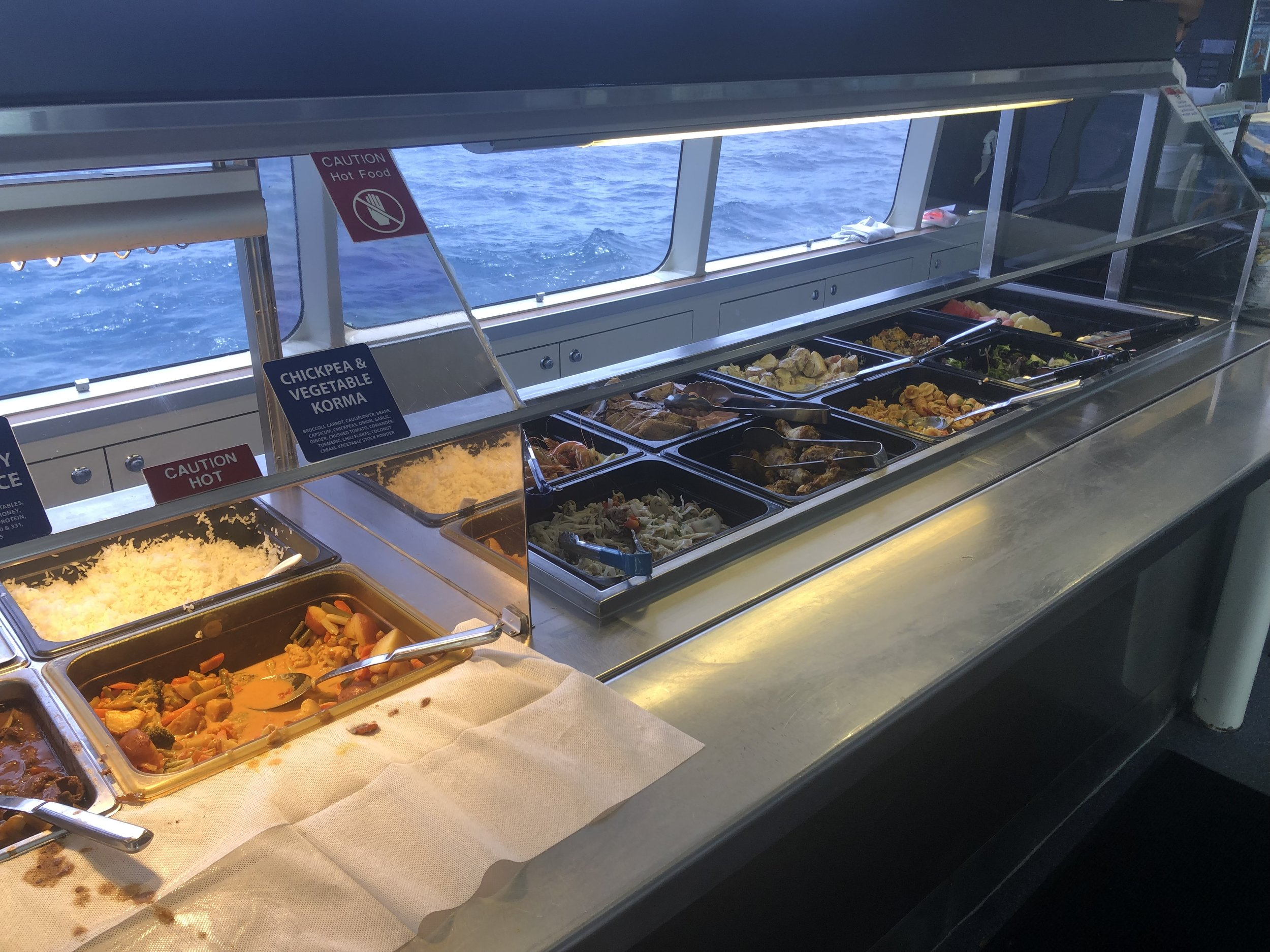 The buffet lunch aboard the   Silverswift     while diving the Great Barrier Reef