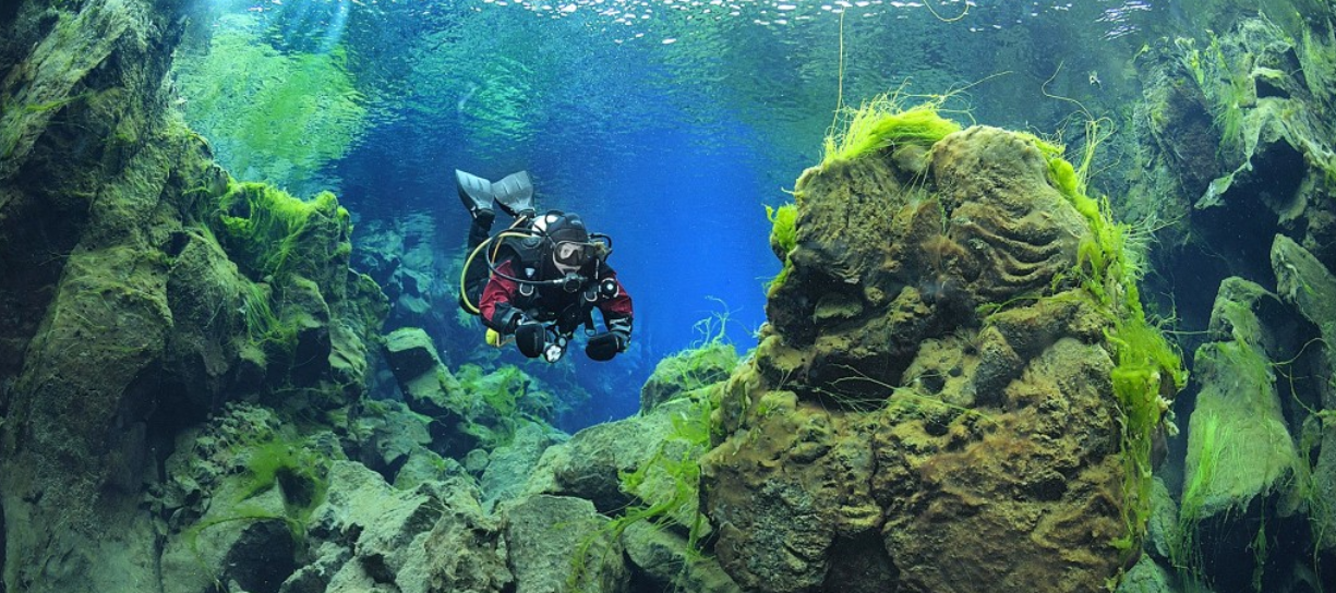 You can also dive between tectonic plates in Thingvellier National Park!