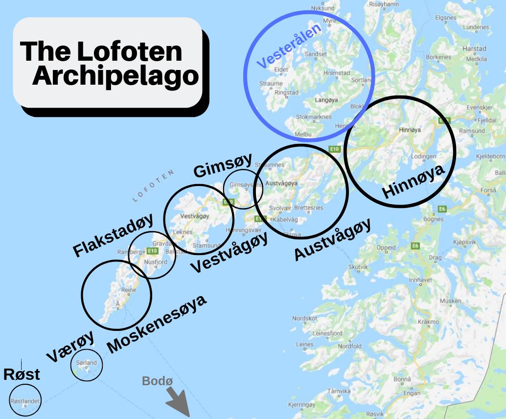 All the islands that make up Lofoten.