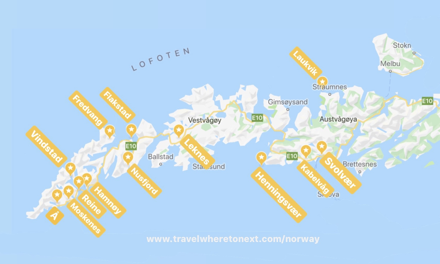 The best towns to visit while you are in Lofoten. Listed below in order from Southwest to Northeast.