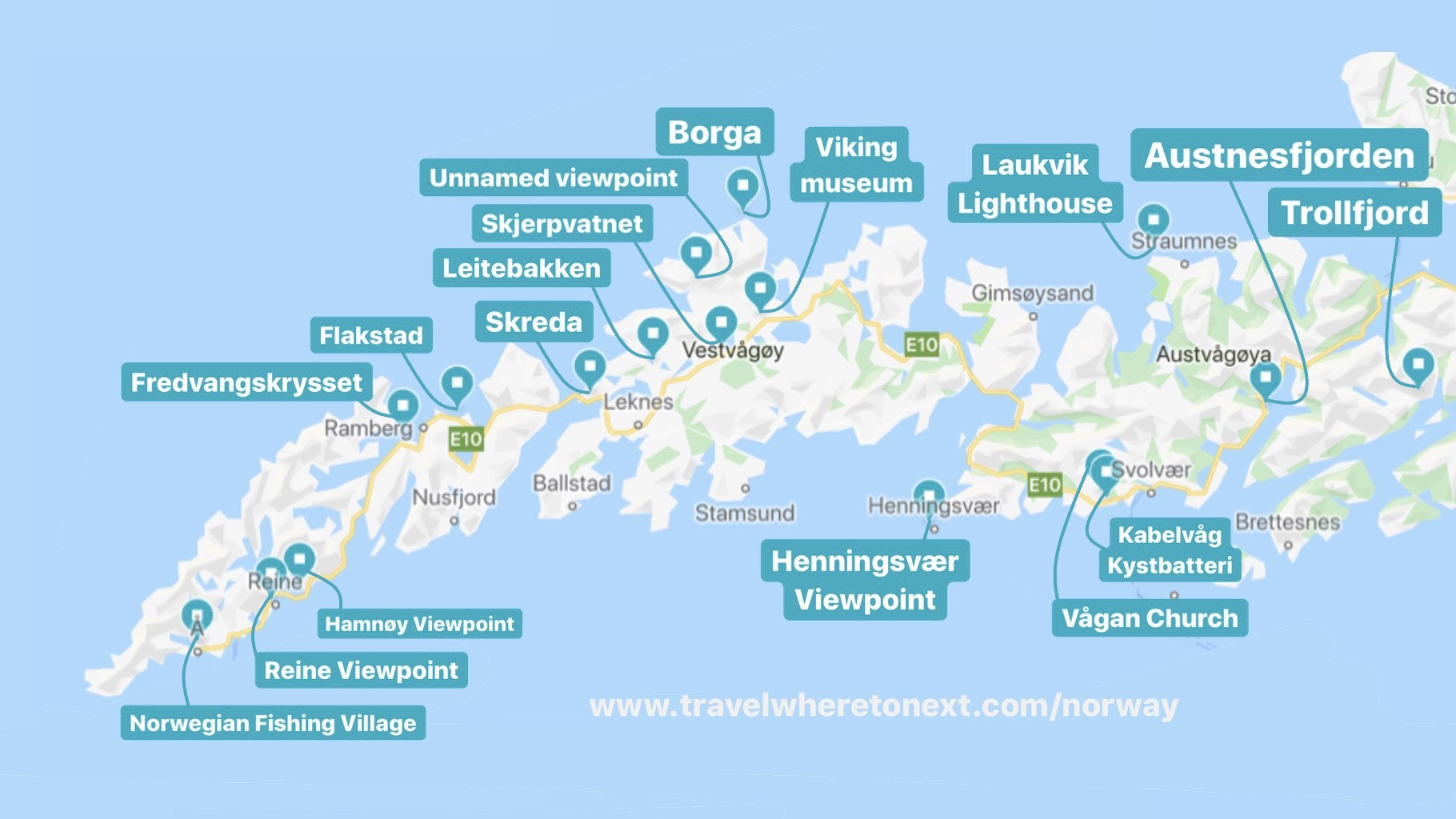 Best viewpoints, picnic areas (rasteplass), and points of interest in Lofoten. Listed below from Southwest to Northeast.