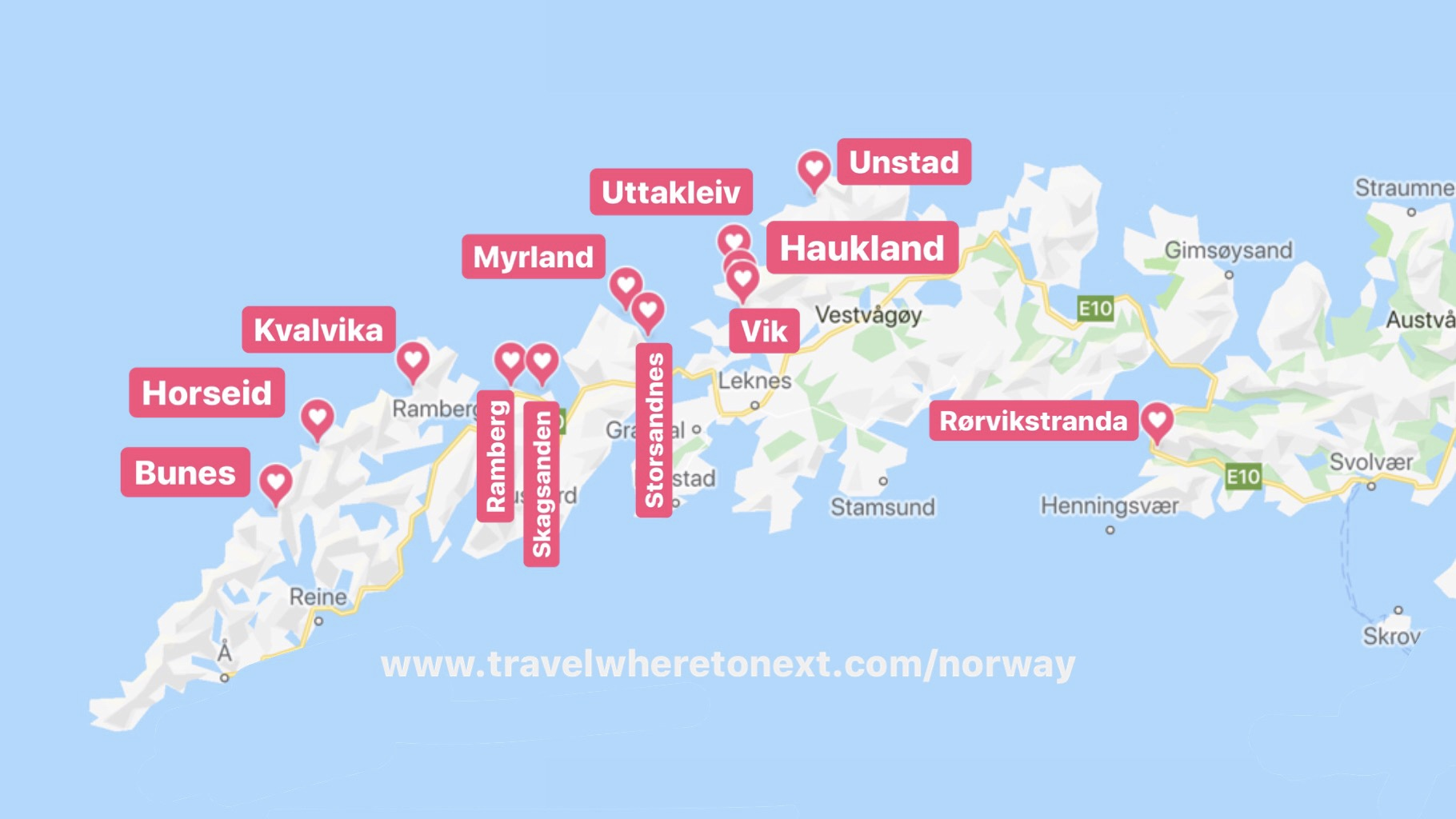 The best beaches in Lofoten, both by foot and by car. Listed below from Southwest to Northeast.
