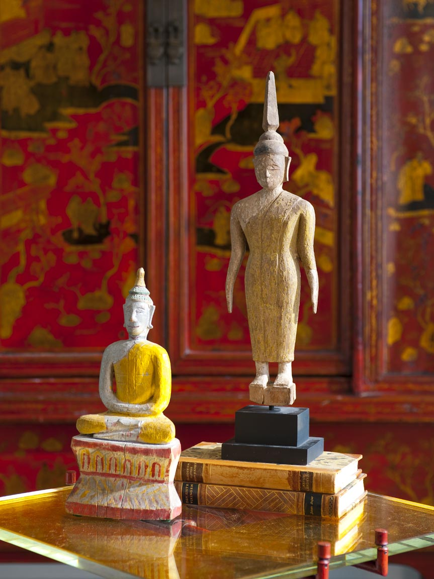 Small Buddha figurines are just a few of the multicultural accessories we used in this eclectic downtown Dallas highrise.