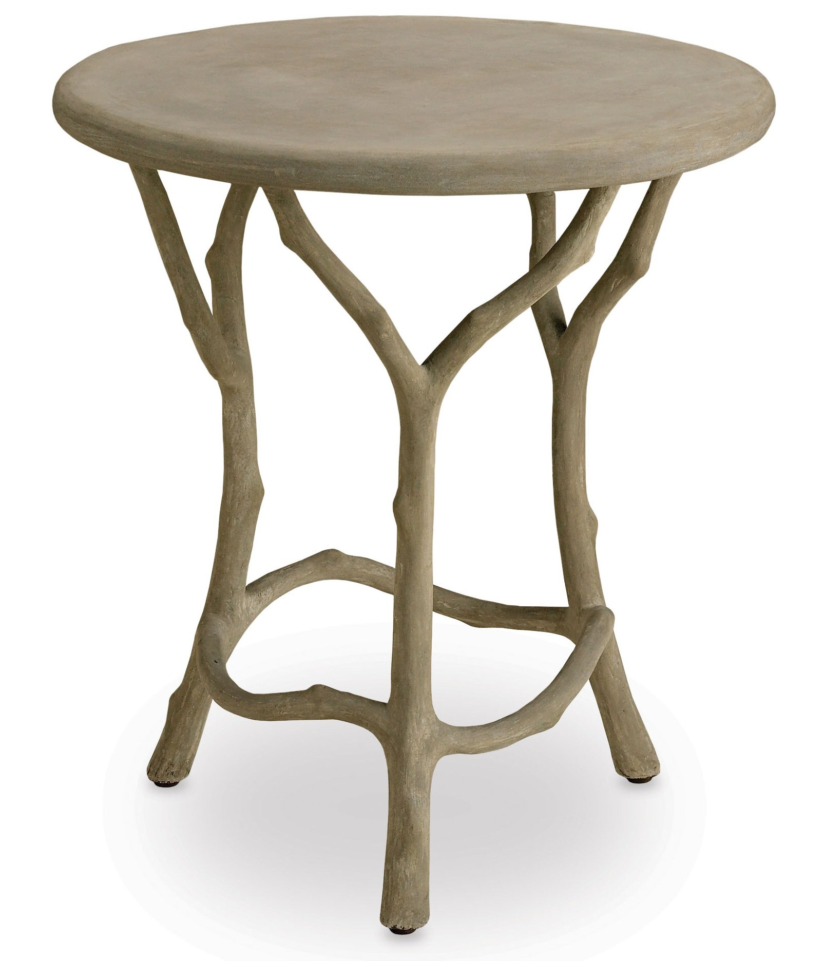 This accent table by Currey & Company is well-suited for the indoors, too.