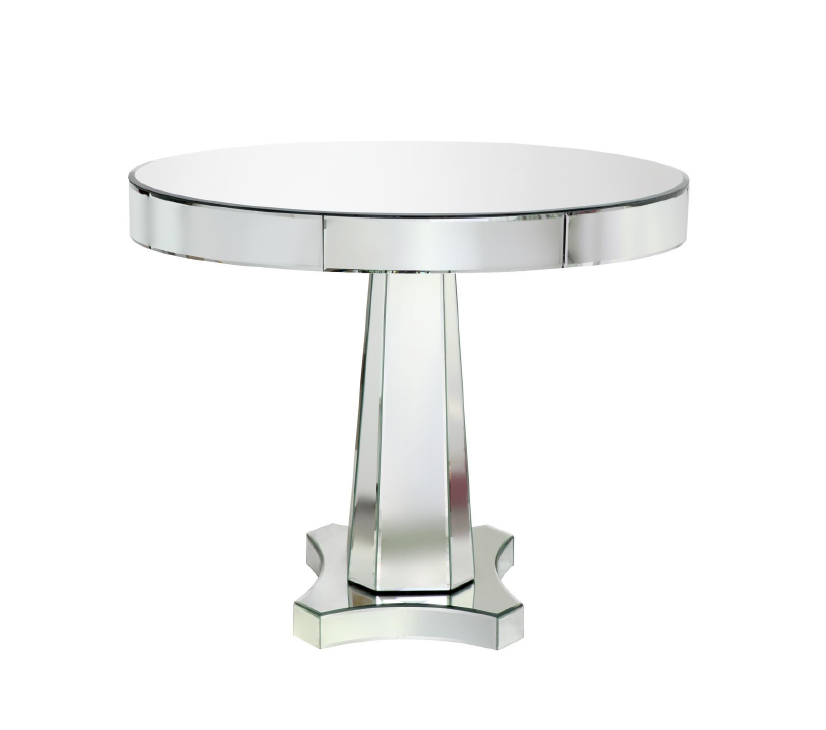 Pictured above is the Cecilia center/dining table by Bungalow 5. It is made of wood with a mirrored surface.