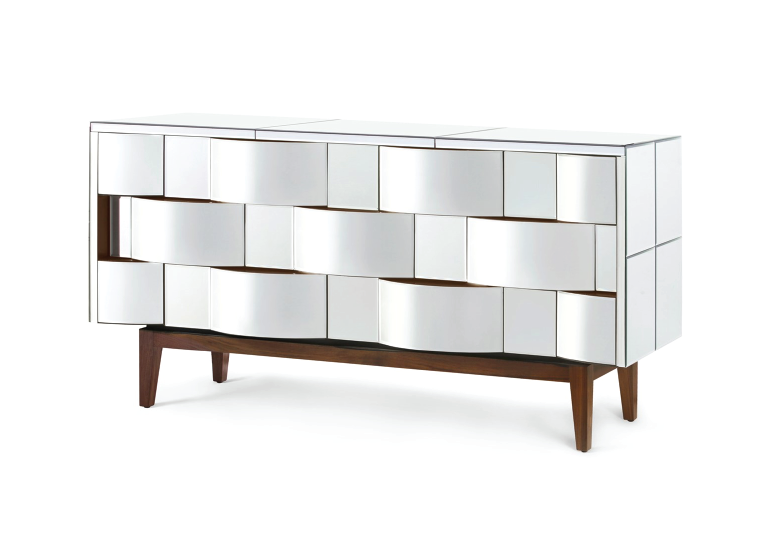 Bungalow 5 has also released this stunning 7-drawer storage piece. Its overall structure takes inspiration from Italian midcentury design, while the rippling wave pattern is a stylish addition.