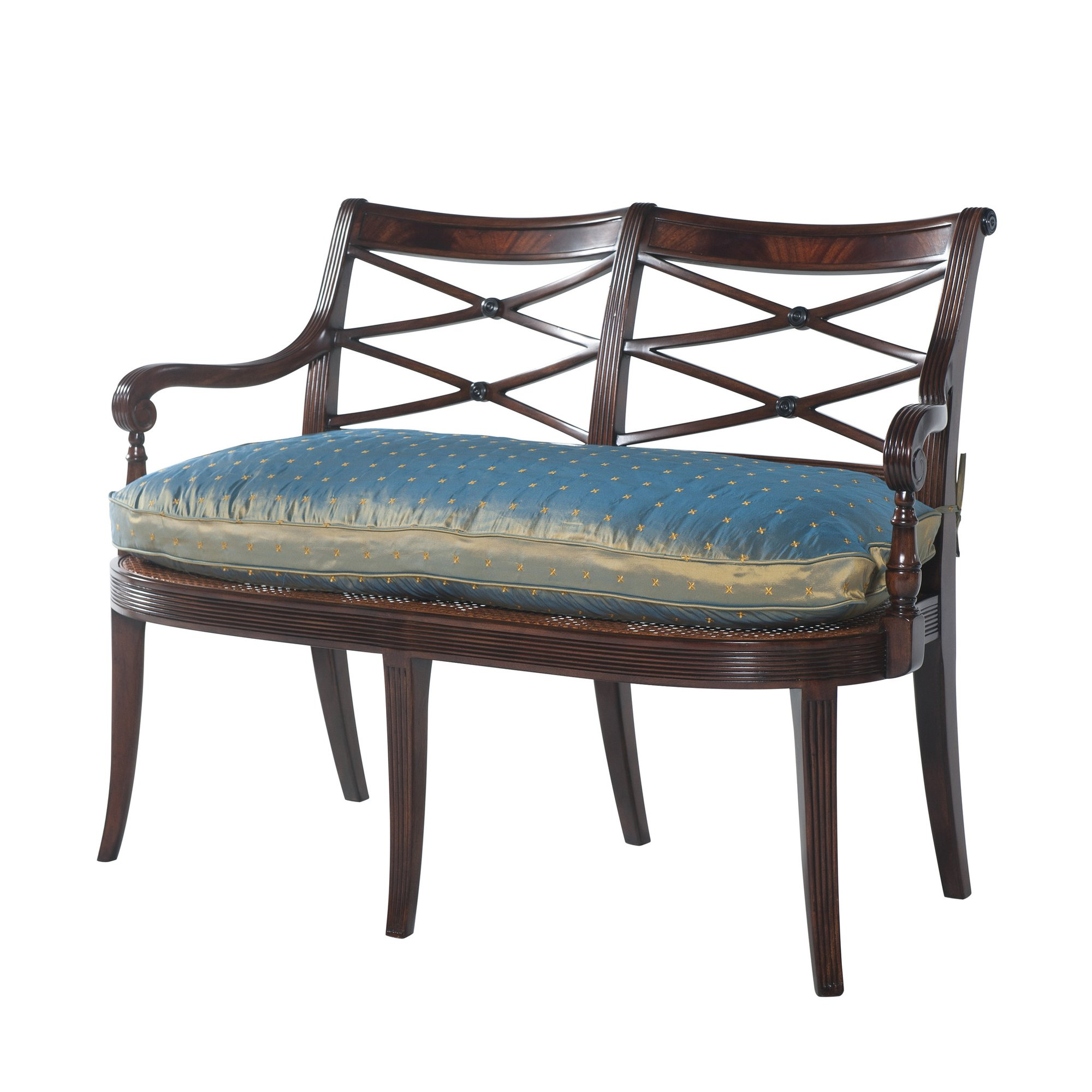 The blue silk pillow on this double chairback settee can add a touch of color to a space.  This is another piece available at English Georgian America's website.