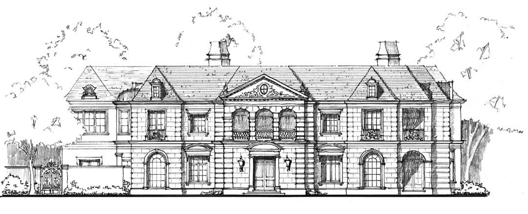 Architect Robbie Fusch designed this home on Lexington. Like any Neoclassical home should, it favors symmetry over asymmetry. (This photo and drawing are copyright of  Fusch Architects, Inc . Chambers Interiors & Associates was granted permission to feature these images).
