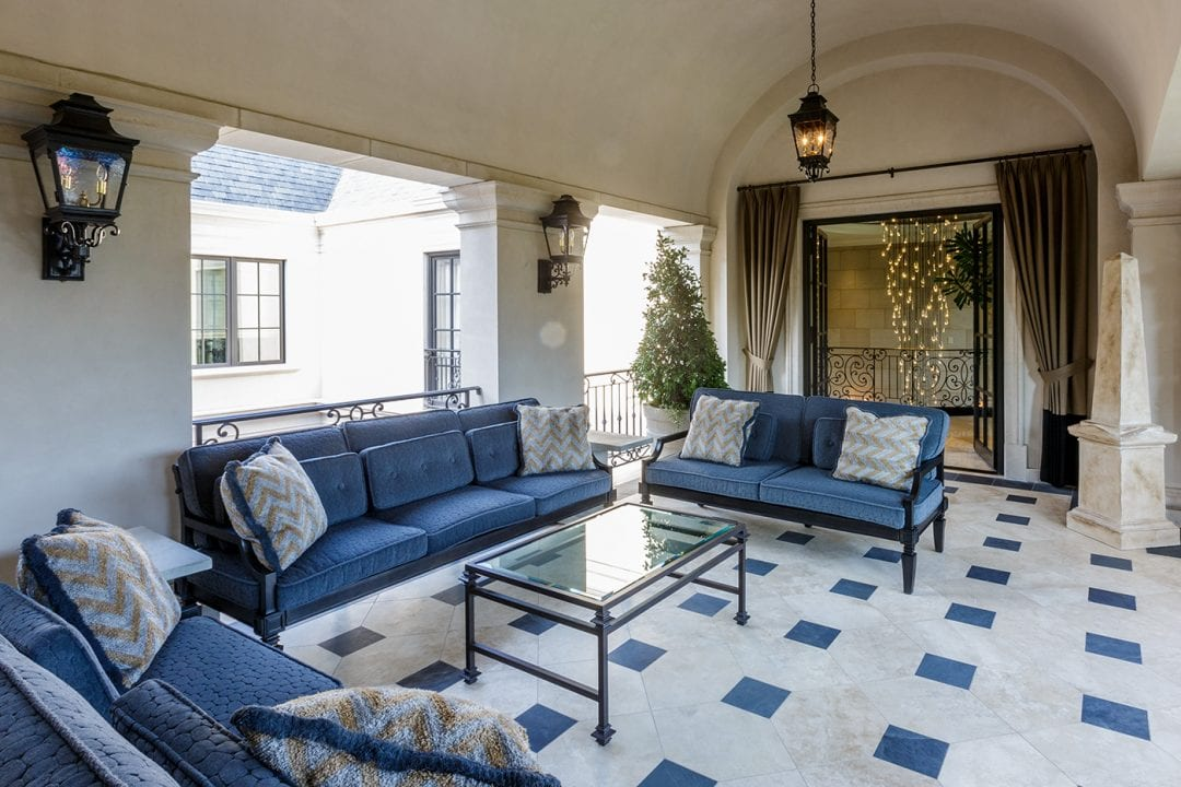 Cobalt blue is the accent color of choice in this room from a Neoclassical home by Robbie Fusch. (This photo is copyright of  Fusch Architects, Inc . Chambers Interiors & Associates was granted permission to feature this image).