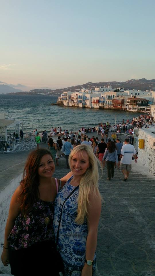 On our way to dinner in Mykonos.
