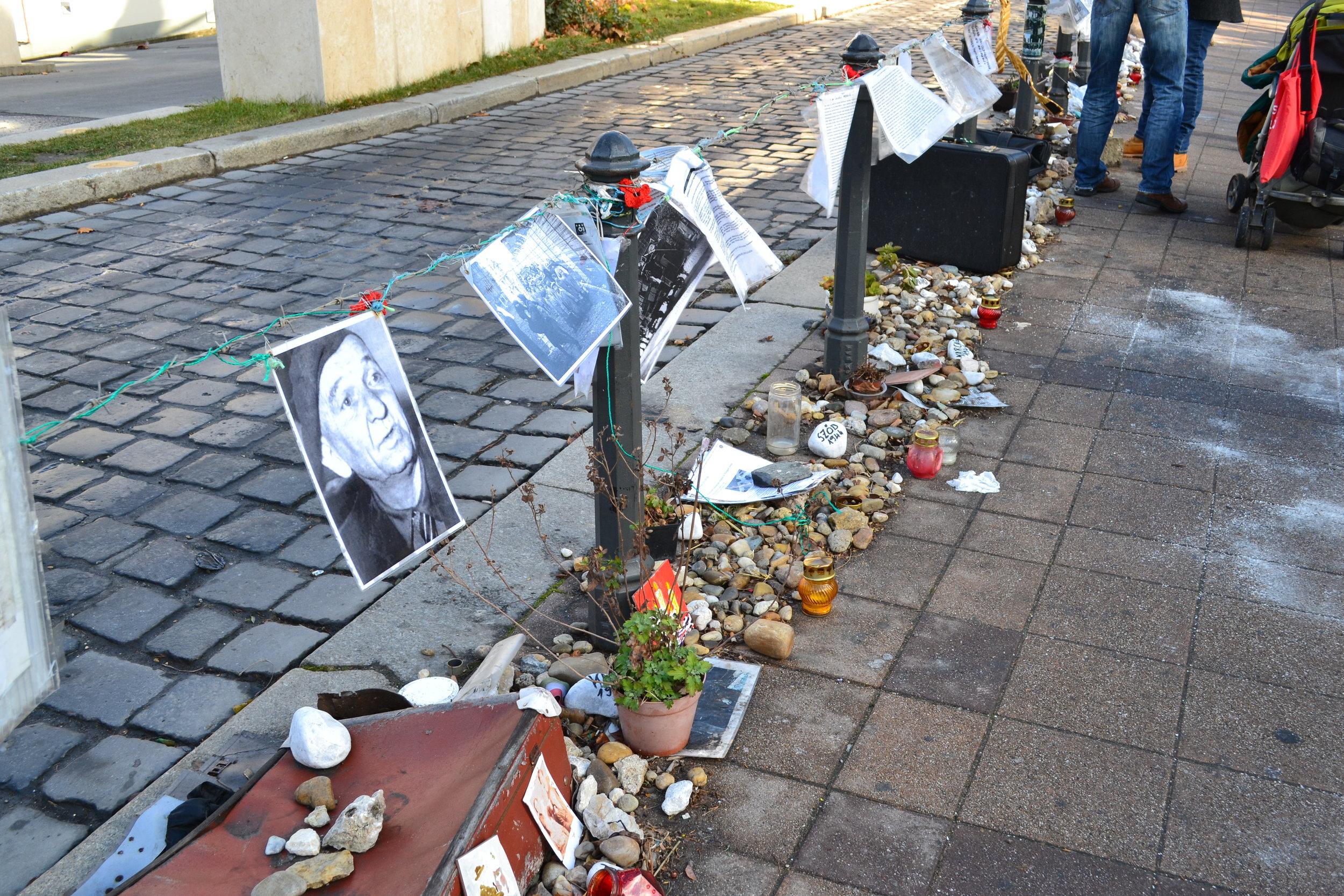 **WWII Monument in Liberty Square - Memorabilia of Holocaust victims
