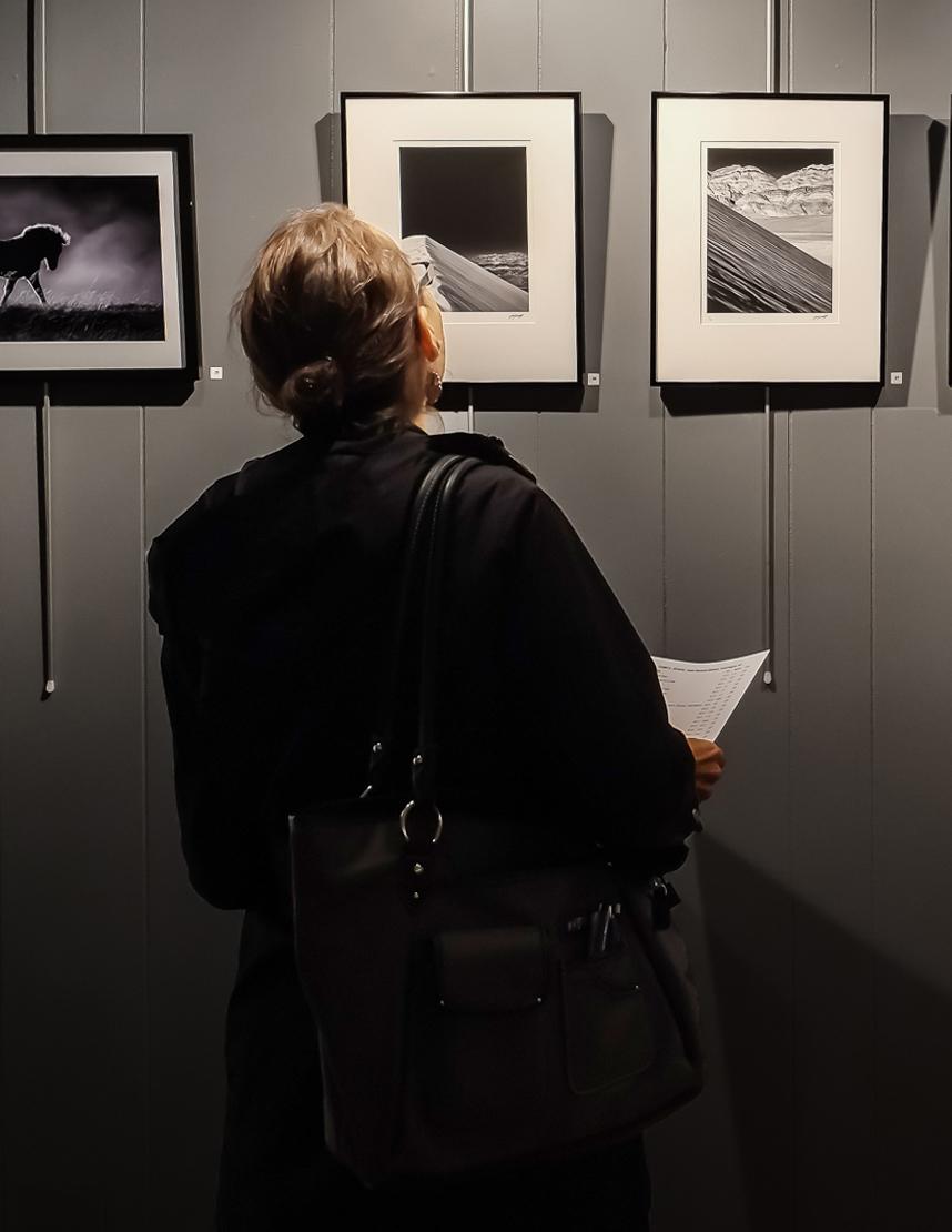 Guest admiring works by Scott Farrell