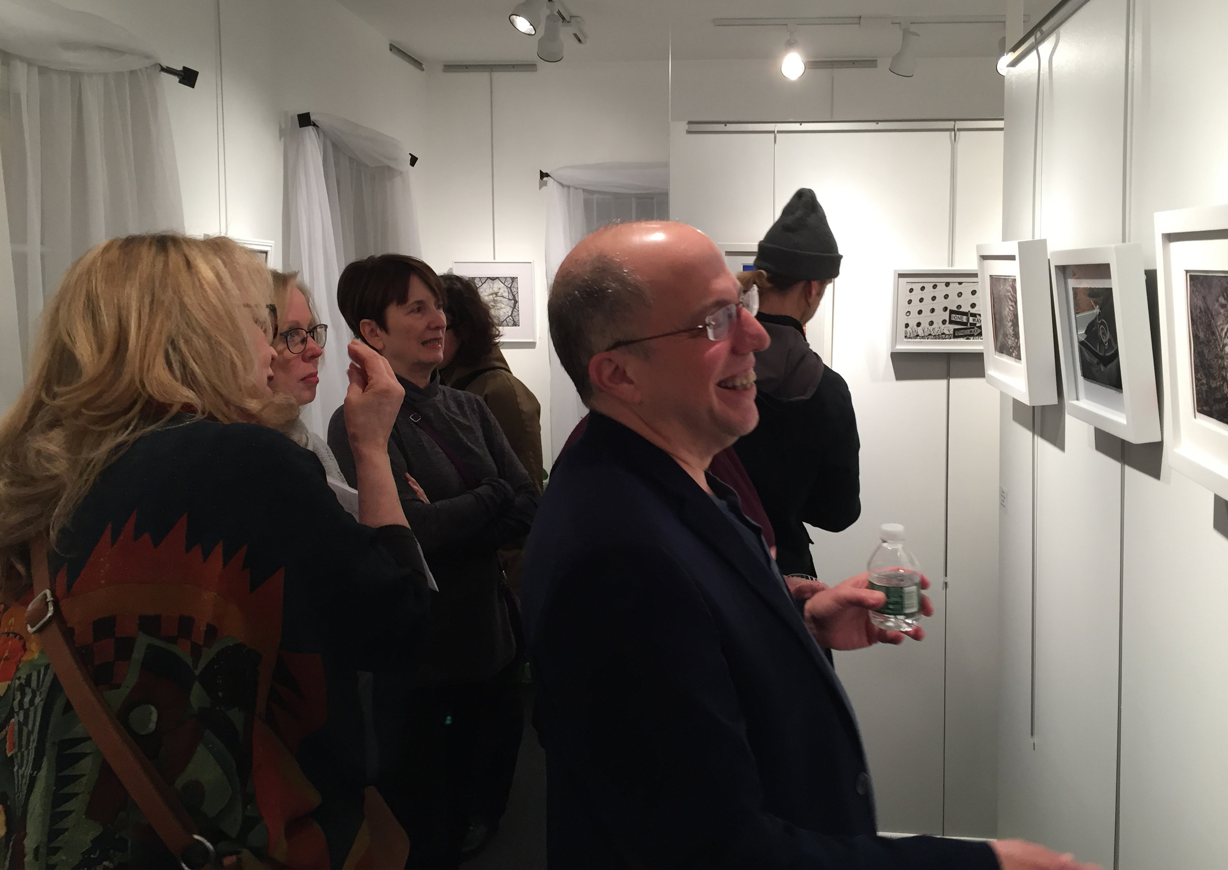 Guests discussing the works