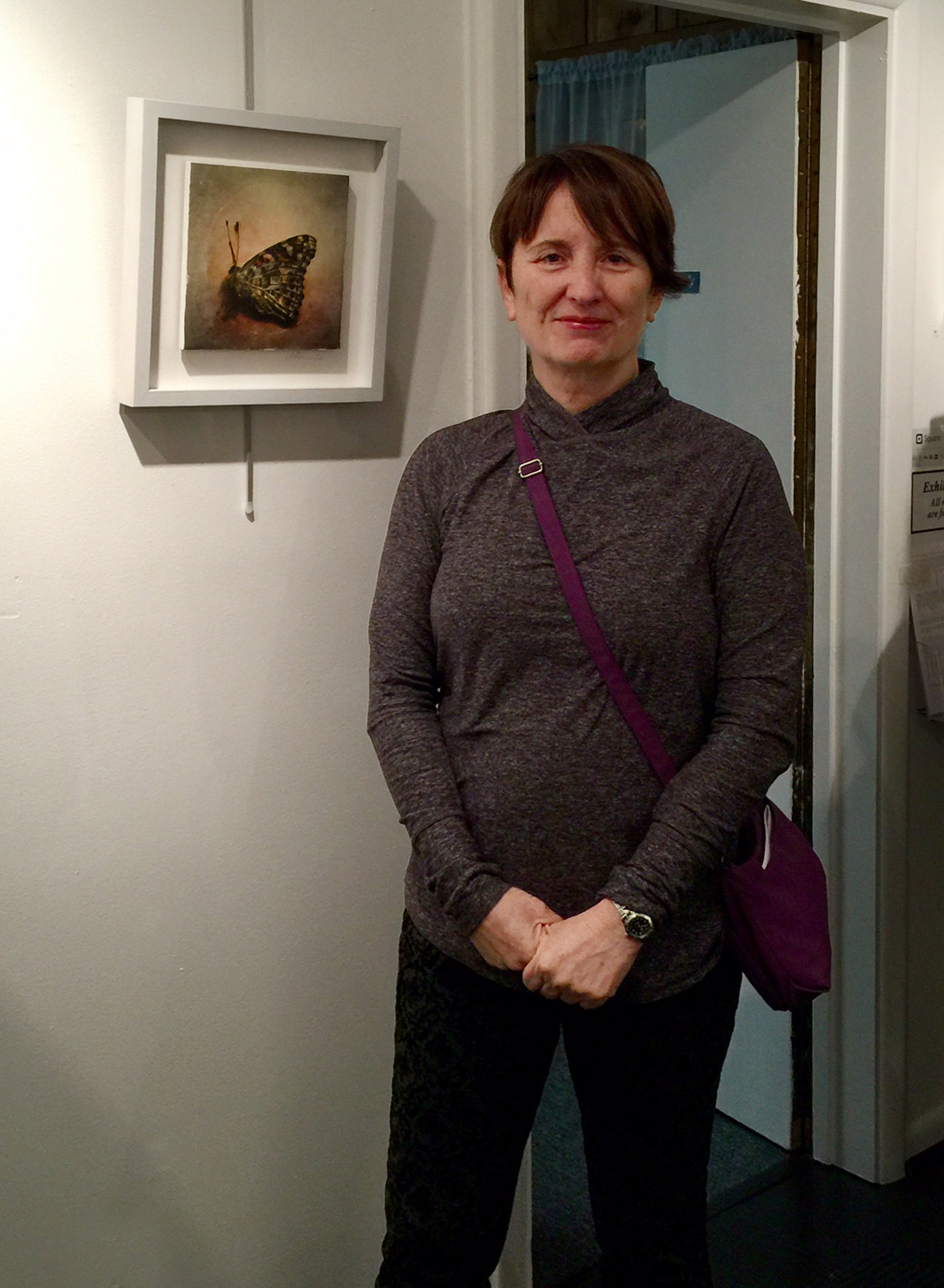 Sandra Carrion with her work, Butterfly