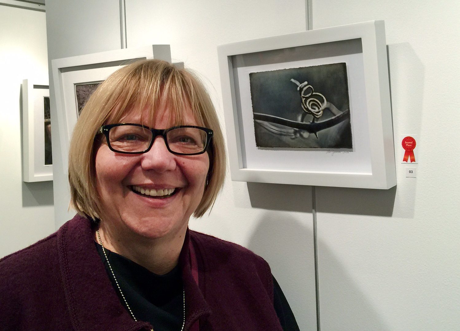 Second Place Prize winner Lois Youmans with her work Tendril