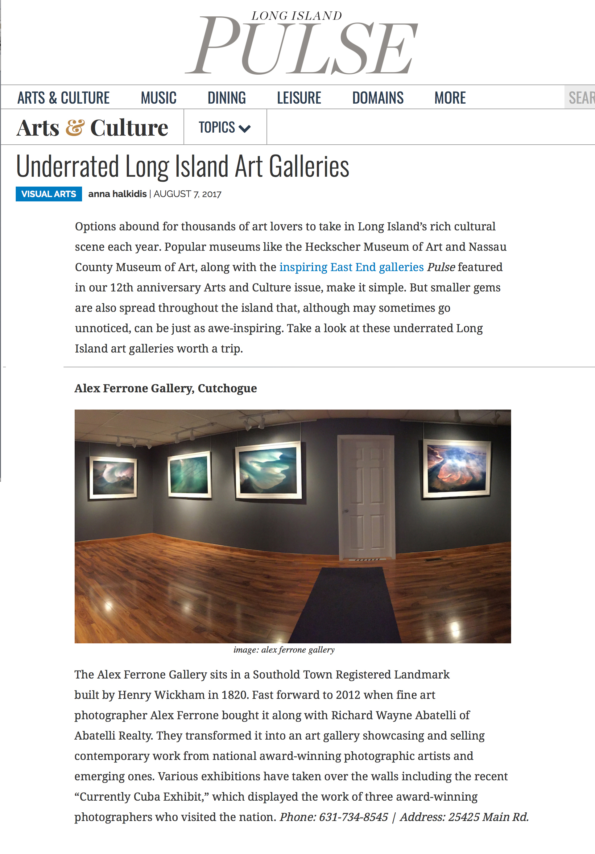 """Underrated Long Island Art Galleries"" Long Island Pulse Magazine"