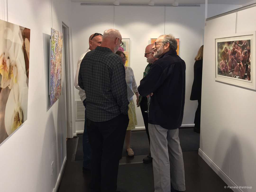 Guests enjoying the reception - works shown by Barbara Macklowe, Katherine Liepe-Levinson, and Steven Schreiber.
